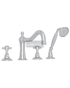 Nicolazzi - 1449 Deck Mounted Bath Tub Mixer Tap & Hand Shower in Chrome with Crystal Half Dome Handles