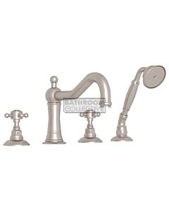 Nicolazzi - 1449 Deck Mounted Bath Tub Mixer Tap & Hand Shower in Brushed Nickel with Crystal Half Dome Handles