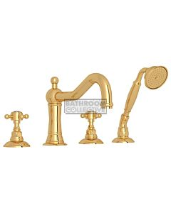 Nicolazzi - 1449 Deck Mounted Bath Tub Mixer Tap & Hand Shower in Gold with Crystal Half Dome Handles