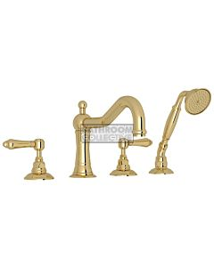 Nicolazzi - 1449 Deck Mounted Bath Tub Mixer Tap & Hand Shower in Raw Brass with El Capitan Handles