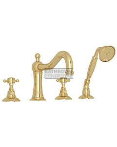 Nicolazzi - 1449 Deck Mounted Bath Tub Mixer Tap & Hand Shower in Raw Brass with Half Dome Handles