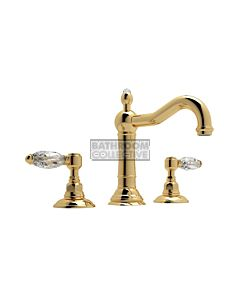 Nicolazzi - 1409 Wash Basin Tap Set with Traditional Spout and Pop Up Waste in Gold with Crystal Lever Handles