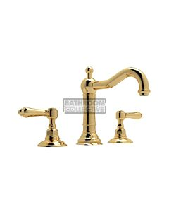 Nicolazzi - 1409 Wash Basin Tap Set with Traditional Spout and Pop Up Waste in Gold with El Capitan Handles