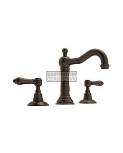 Nicolazzi - 1409 Wash Basin Tap Set with Traditional Spout and Pop Up Waste in Tuscan Brass with El Capitan Lever Handles