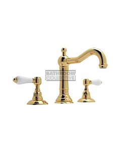Nicolazzi - 1409 Wash Basin Tap Set with Traditional Spout and Pop Up Waste in Gold with Petite Mont Blanc Handles