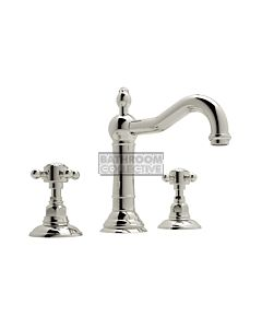Nicolazzi - 1409 Wash Basin Tap Set with Traditional Spout and Pop Up Waste in Polished Nickel with Crystal Half Dome Handles