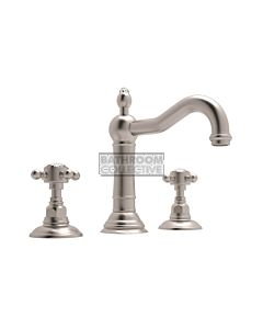 Nicolazzi - 1409 Wash Basin Tap Set with Traditional Spout and Pop Up Waste in Brushed Nickel with Crystal Half Dome Handles