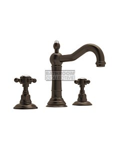 Nicolazzi - 1409 Wash Basin Tap Set with Traditional Spout and Pop Up Waste in Tuscan Brass with Crystal Half Dome Handles
