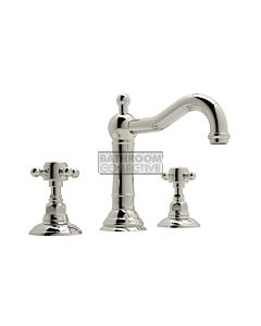 Nicolazzi - 1409 Wash Basin Tap Set with Traditional Spout and Pop Up Waste in Polished Nickel with Half Dome Handles