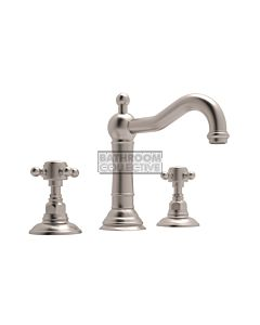 Nicolazzi - 1409 Wash Basin Tap Set with Traditional Spout and Pop Up Waste in Brushed Nickel with Half Dome Handles
