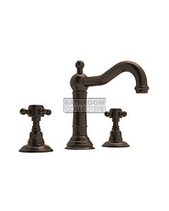 Nicolazzi - 1409 Wash Basin Tap Set with Traditional Spout and Pop Up Waste in Tuscan Brass with Half Dome Handles