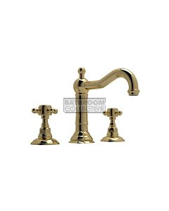 Nicolazzi - 1409 Wash Basin Tap Set with Traditional Spout and Pop Up Waste in Raw Brass with Half Dome Handles