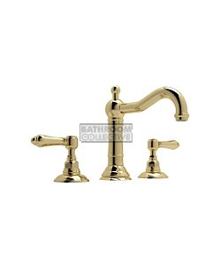 Nicolazzi - 1409 Wash Basin Tap Set with Traditional Spout and Pop Up Waste in Raw Brass with El Capitan Handles
