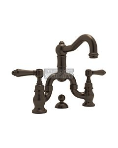 Nicolazzi - 1419 Wash Basin Bridge Tap Set with Traditional Spout and Pop Up Waste in Tuscan Brass with El Capitan Handles