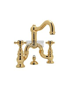 Nicolazzi - 1419 Wash Basin Bridge Tap Set with Traditional Spout and Pop Up Waste in Gold with Crystal Half Dome Handles
