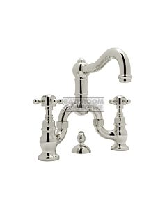 Nicolazzi - 1419 Wash Basin Bridge Tap Set with Traditional Spout and Pop Up Waste in Polished Nickel with Crystal Half Dome Handles