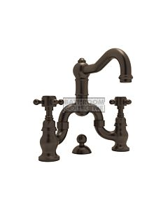Nicolazzi - 1419 Wash Basin Bridge Tap Set with Traditional Spout and Pop Up Waste in Tuscan Brass with Half Dome Handles