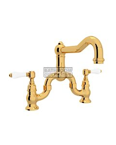 Nicolazzi - 1420 Exposed Bridge Kitchen Tap Sink Mixer with Traditional Swivel Spout in Gold with Petite Mont Blanc Lever Handles