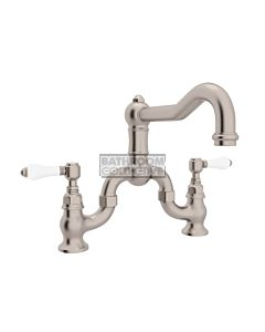 Nicolazzi - 1420 Exposed Bridge Kitchen Tap Sink Mixer with Traditional Swivel Spout in Brushed Nickel with Petite Mont Blanc Lever Handles