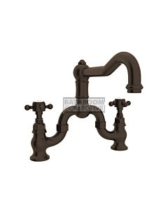 Nicolazzi - 1420 Exposed Bridge Kitchen Tap Sink Mixer with Traditional Swivel Spout in Tuscan Brass with Half Dome Handles