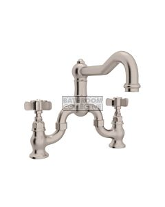 Nicolazzi - 1420 Exposed Bridge Kitchen Tap Sink Mixer with Traditional Swivel Spout in Brushed Nickel with Dame Anglaises Handles