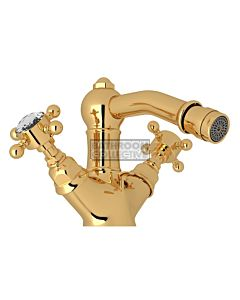 Nicolazzi - 1434 Bidet Twinner Tap Set in Gold with Crystal Half Dome Handles