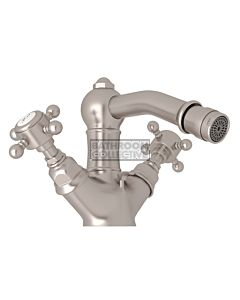 Nicolazzi - 1434 Bidet Twinner Tap Set in Brushed Nickel with Half Dome Handles