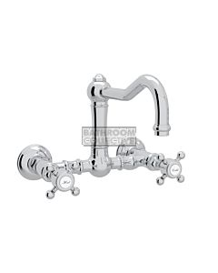 Nicolazzi - 1457 Wall Mounted Exposed Kitchen Tap Sink Mixer with Traditional Swivel Spout in Chrome with Half Dome Handles