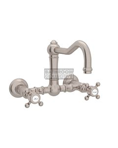 Nicolazzi - 1457 Wall Mounted Exposed Kitchen Tap Sink Mixer with Traditional Swivel Spout in Brushed Nickel with Half Dome Handles