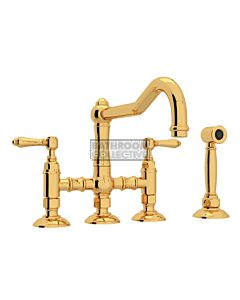 Nicolazzi - 1458WS Exposed Kitchen Tap Sink Mixer with Traditional Swivel Spout & Handspray in Gold with El Capitan Lever Handles