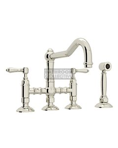 Nicolazzi - 1458WS Exposed Kitchen Tap Sink Mixer with Traditional Swivel Spout & Handspray in Polished Nickel with El Capitan Lever Handles