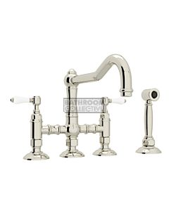 Nicolazzi - 1458WS Exposed Kitchen Tap Sink Mixer with Traditional Swivel Spout & Handspray in Polished Nickel with Petite Mont Blanc Lever Handles