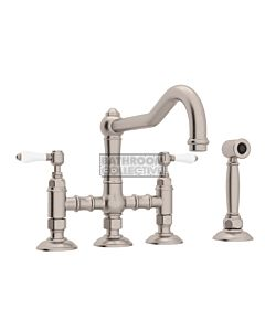 Nicolazzi - 1458WS Exposed Kitchen Tap Sink Mixer with Traditional Swivel Spout & Handspray in Brushed Nickel with Petite Mont Blanc Lever Handles