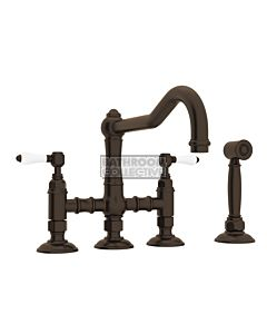 Nicolazzi - 1458WS Exposed Kitchen Tap Sink Mixer with Traditional Swivel Spout & Handspray in Tuscan Brass with Petite Mont Blanc Lever Handles