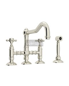 Nicolazzi - 1458WS Exposed Kitchen Tap Sink Mixer with Traditional Swivel Spout & Handspray in Polished Nickel with Half Dome Handles