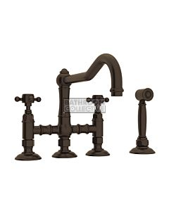Nicolazzi - 1458WS Exposed Kitchen Tap Sink Mixer with Traditional Swivel Spout & Handspray in Tuscan Brass with Half Dome Handles