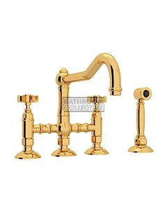 Nicolazzi - 1458WS Exposed Kitchen Tap Sink Mixer with Traditional Swivel Spout & Handspray in Gold with Dame Anglaises Handles