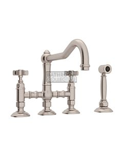 Nicolazzi - 1458WS Exposed Kitchen Tap Sink Mixer with Traditional Swivel Spout & Handspray in Brushed Nickel with Dame Anglaises Handles