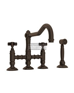 Nicolazzi - 1458WS Exposed Kitchen Tap Sink Mixer with Traditional Swivel Spout & Handspray in Tuscan Brass with Dame Anglaises Handles