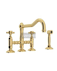 Nicolazzi - 1458WS Exposed Kitchen Tap Sink Mixer with Traditional Swivel Spout & Handspray in Raw Brass with Half Dome Handles