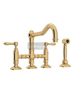 Nicolazzi - 1458WS Exposed Kitchen Tap Sink Mixer with Traditional Swivel Spout & Handspray in Raw Brass with El Capitan Lever Handles