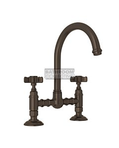 Nicolazzi - 1460 Exposed Kitchen Tap Sink Mixer with Gooseneck Swivel Spout in Tuscan Brass with Dame Anglaises Handles