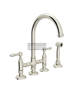 Nicolazzi - 1460WS Exposed Kitchen Tap Sink Mixer with Gooseneck Swivel Spout & Handspray in Polished Nickel with El Capitan Lever Handles