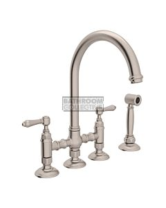 Nicolazzi - 1460WS Exposed Kitchen Tap Sink Mixer with Gooseneck Swivel Spout & Handspray in Brushed Nickel with El Capitan Lever Handles