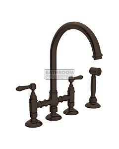 Nicolazzi - 1460WS Exposed Kitchen Tap Sink Mixer with Gooseneck Swivel Spout & Handspray in Tuscan Brass with El Capitan Lever Handles
