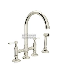 Nicolazzi - 1460WS Exposed Kitchen Tap Sink Mixer with Gooseneck Swivel Spout & Handspray in Polished Nickel with Petite Mont Blanc Lever Handles