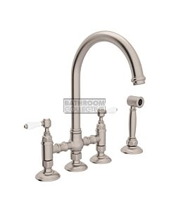 Nicolazzi - 1460WS Exposed Kitchen Tap Sink Mixer with Gooseneck Swivel Spout & Handspray in Brushed Nickel with Petite Mont Blanc Lever Handles