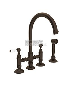 Nicolazzi - 1460WS Exposed Kitchen Tap Sink Mixer with Gooseneck Swivel Spout & Handspray in Tuscan Brass with Petite Mont Blanc Lever Handles