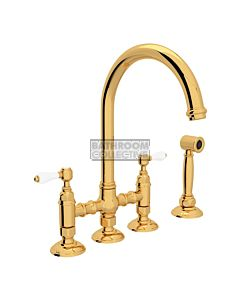 Nicolazzi - 1460WS Exposed Kitchen Tap Sink Mixer with Gooseneck Swivel Spout & Handspray in Gold with Petite Mont Blanc Lever Handles