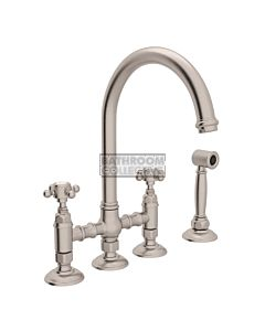 Nicolazzi - 1460WS Exposed Kitchen Tap Sink Mixer with Gooseneck Swivel Spout & Handspray in Brushed Nickel with Half Dome Handles